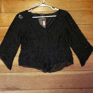 NWT JKARA New York Petite Black Dressy Beaded Top